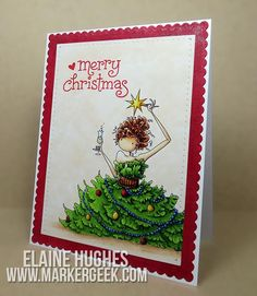 Card: Merry Christmas with Stamping Bella Uptown Girl Savannah