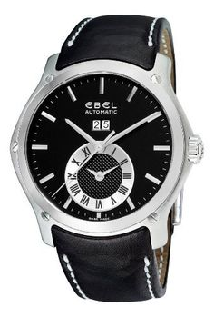 Ebel Men's 9301F61/5335P06GS Classic Hexagon Black Chronograph Dial Watch Ebel. $1663.16. Deployment clasp. Water-resistant to 165 feet (50 M). Automatic movement. Black leather strap. Black chronograph dial. Save 58%!