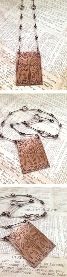 "Handmade etched art nouveau pendant on a handmade copper chain. Very pretty!  Copper has been oxidized & polished, and etching is made with intentional imperfections for an antiquated look.  Chain measures approximately 17.25"".  Handmade with love. The clasp is also handmade.  Please allow for some color variations due to differences in computer monitors."