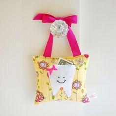 Girls Tooth Fairy Pillow Tooth Fairy Gift in Modern Yellow and Pink Floral Cotton. $18.00, via Etsy. Perfect for Elle
