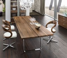 Luxury Natural dining table - love modern wood tables...