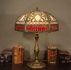 Huge Lavish Empire Intricate Overlay Slag Glass Lamp from Stidwill's Antiques on RubyLane.com