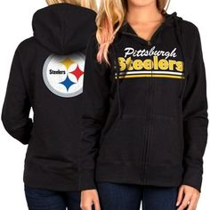 Women s Pittsburgh Steelers Black Full Zip Hoodie 54cbc2979