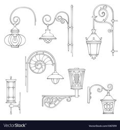 See More Vector Illustration Of Retro And Modern Street Lanterns Download A Free Preview Or High Quality