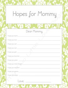 Hopes for Mommy Printable baby shower game-