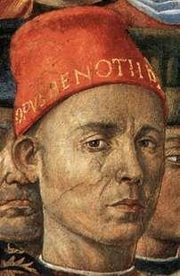 Self-portrait of Benozzo Gozzoli which appears in his fresco of the Procession of the Magi