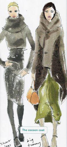 The Cocoon Coat fashion illustration