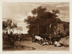 LIBER STUDIORUM. PART 2  ( 20 / 02 / 1808 ). PLATE 7. THE STRAW YARD. Etcher : J.M.W. Turner. Engraver : Charles Turner.
