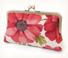 Red anemones clutch  Purse for wedding / bridal / by redrubyrose, $75.00