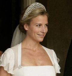 Lady Rose Windsor wearing the Iveagh Tiara, United Kingdom (1893; diamonds). A wedding present to Mary of Teck (later Queen Mary, Queen consort of King George VI).