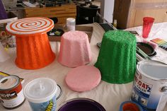 CandyLand Theme - use styrofoam disks for lollipops and looks like cardboard planters for gumdrops? Candy Land Birthday Party Part One, a real party by Jennifer Hostetler via DIY Inspired Candy Land Christmas, Candy Christmas Decorations, Christmas Gingerbread House, Candy Land Decorations, Diy Christmas, Desk Decorations, Office Christmas, Outdoor Christmas, Holiday Decor