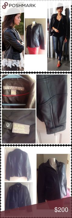 Kenneth Cole Leather Jacket Soft black 100% leather jacket. Great condition. Zippers on sleeves. Good quality. Size chart in last photo with measurements. Make an offer loves. Kenneth Cole Reaction Jackets & Coats