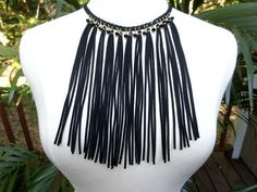 Gold & Black Suede Fringe Black Faceted Bead Choker Bib Necklace - Long Black Fringe Beaded Bib Necklace, Choker, Gift  Details: Gorgeous necklace