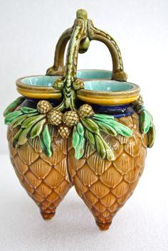 Sarreguemines Triple Pine Cone Vase. Majolica International Society image from the Karmason Library.