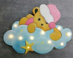Teddy auf Wolke Felt Patterns, Sewing Patterns, Boy Room, Kids Room, Wooden Gifts, Scroll Saw, Kids Decor, Fairy Lights, Craft Fairs