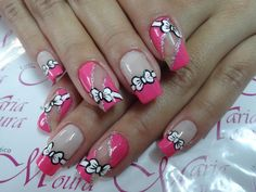 Pink nails with white bows