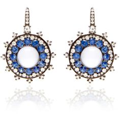 Nam Cho Small Blue And White Bull's Eye Earrings ($7,700) ❤ liked on Polyvore featuring jewelry, earrings, white gold jewelry, 18k white gold earrings, pave earrings, 18 karat gold earrings and 18k jewelry