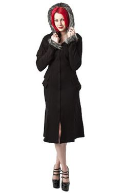 Taio Faux Fur Coat - Gothic, industrial, steam punk coats