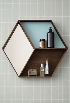 Bathroom mirror and shelf.