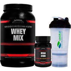 Shoptime Whey Mix Morango 900g + BCAA 100 Cápsulas + Coqueteleira Transparente - Nitech Nutrition - R$71,28