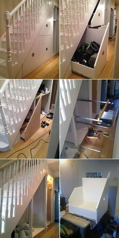 Under stairs storage DIY project in London Victorian house by Nick Turpin. – Under stairs storage DIY project in London Victorian house by Nick Turpin. Staircase Storage, Stair Storage, Kids Storage, Cupboard Storage, Closet Storage, Storage Spaces, Storage Ideas, Closet Shelves, Creative Storage