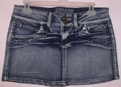 "CAPPUCCINO JEANS size 11/12 SEXY blue denim mini skirt 30"" waist 11"" long ~EUC"