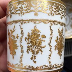 Sèvres 1773 hard paste gobelet litron of a large size, gilt tooled decoration with unusual marks in yellow over glaze partly combined with underglaze blue marks on the cup. German private collection