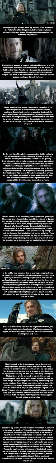 YES! I totally agree with this entire post Boromir deserves way more credit than he gets because he's really not a bad character!
