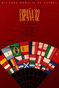 Affiche du mondial de football de 1982 en Espagne • L'année du célèbre attentat de Schumacher sur Battiston !