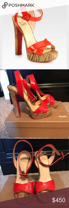 Christian Louboutin Sandals - Glory (Red) Gorgeous, authentic Louboutin sandals! The style is Glory in a bright red patent leather. Worn only twice. Size 37, gorgeous deep red color! Comes  with the box and dust bag. Reasonable offers only please. Price is fairly firm Christian Louboutin Shoes