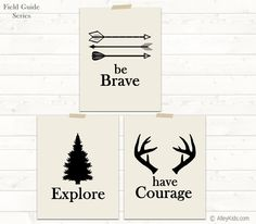 Theme idea: Set of 3 woodland theme nursery art. Be Brave, Explore and Have Courage prints feature arrows, a pine tree and antlers. Perfect for a camping nursery, woodland nursery or rustic nursery. Nursery Themes, Nursery Wall Art, Nursery Decor, Nursery Ideas, Themed Nursery, Room Decor, Playroom Ideas, Room Themes, Rustic Nursery