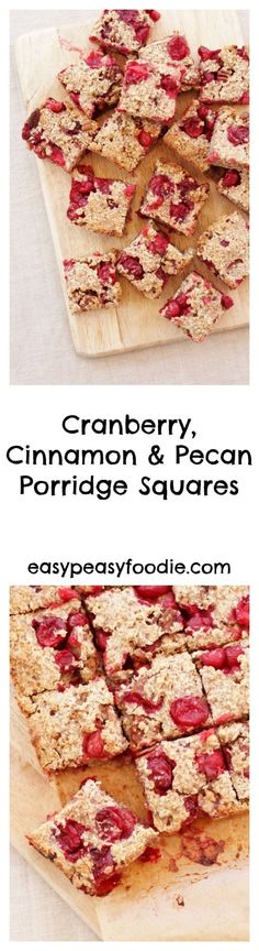 These quick and simple Cranberry, Cinnamon and Pecan Porridge Squares would make a deliciously easy peasy Christmas breakfast or healthy festive snack. They are also gluten free, dairy free and suitable for vegans! #christmas #glutenfree #dairyfree #vegan #breakfast #brunch #christmasbreakfast #christmasbrunch #healthy #easychristmas #easypeasychristmas #christmasfood #christmasbaking #easychristmasfood #christmasrecipes #easychristmasrecipes #easyentertaining #easypeasyfoodie #cookblogshare