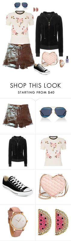 """""""169-3 Dawn"""" by afashionpage ❤ liked on Polyvore featuring Maje, Christian Dior, Juicy Couture, RED Valentino, Converse, Rebecca Minkoff, MVMT, Betsey Johnson, Lauren B. Beauty and modern"""