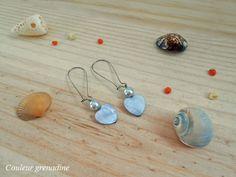 Boucles d'oreilles cœur bleu et perle : Boucles d'oreille par couleur-grenadine33