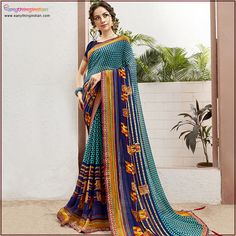 Explore the collection of blue saree from the house of Eanythingindian. which gives Ethnic wear fashionable and traditional look. #eanythingindian #sarees #fashion #beindian #buyindian #ethnicwear #sareefashion #sareecollection #traditional Net Saree, Georgette Sarees, New Saree Designs, Party Wear Sarees Online, Saree Shopping, Blue Saree, Saree Dress, Sari, Casual Saree
