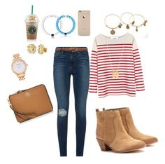 """""""❤️"""" by prepallday ❤ liked on Polyvore featuring Frame Denim, Kate Spade, Tory Burch, Gucci, Alex and Ani and BaubleBar"""