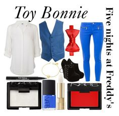 """""""Five nights at Freddy's inspired outfits #7 Toy Bonnie"""" by tortured-puppet ❤ liked on Polyvore featuring MICHAEL Michael Kors, Vero Moda, Dolce&Gabbana, Topman, NARS Cosmetics, Trish McEvoy and Marc by Marc Jacobs"""