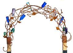 Hey Cindy this is a Stephanie Dwyer piece. Wine Bottle Trees, Wine Bottle Corks, Wine Bottle Crafts, Bowling Ball Garden, Outdoor Art, Outdoor Living, Wine Craft, Wine Design, Blue Bottle