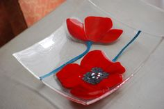 Rich red poppy flower dishavailable alone or as a by AtelierSVG, £80.00