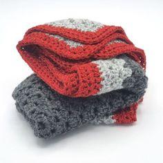 Couverture bébé crochetée laine grise et rouge pour une | Etsy