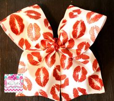 Valentine's Day Cheer Bow. Glitter Kisses Cheer Softball Bow by LivinTheBowLife on Etsy