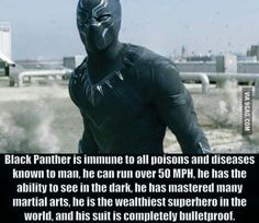 Black Panther is one of the coolest underrated characters in all of Marvel. King T'Challa is a beast. Black Panther is one of the coolest undervalued characters in Marvel. King T Challa is a beast. Spideypool, Superfamily, Marvel Dc Comics, Marvel Heroes, Deadpool, Superhero Facts, Marvel Facts, The Avengers, Avengers Memes