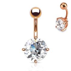 Shop for Rose Gold Plated Belly Button Rings - Non Dangle Navel Ring jewellery with a large crystal gem, gold plated fixed bar. Bellybutton Piercings, Piercing Ring, Belly Button Jewelry, Belly Button Rings, Sapphire Diamond Engagement, Halo Engagement, Body Jewelry, Jewlery, Belly Rings
