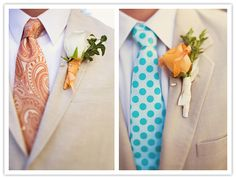 A groom should go crazy with his tie, and shoes. BUT THEY MUST BE COHESIVE