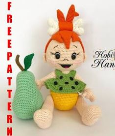 We continue to share Amigurumi free patterns. Amigurumi Pebbles Flintstone pattern is waiting for you in this article. Crochet Amigurumi Free Patterns, Crochet Doll Pattern, Crochet Dolls, Free Crochet, Crochet Crafts, Crochet Projects, Pebbles Flintstone, How To Start Knitting, Amigurumi Doll