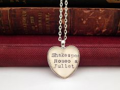 Romeo and Juliet necklace, Shakespeare jewelry, library card catalog jewelry