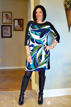 Geometric Sheath Dress Adding color to your Fall or Winter wardrobe can really spice things up! Click through for more great ideas... Jo Lynne Shane