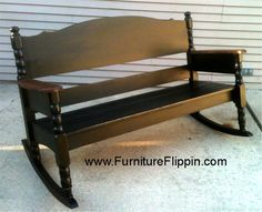 A rocker! This rocker is a repurposed headboard and footboard. I've seen headboard benches, but the rocker is unique! Maybe you could repurpose a rocking chair for the bench rockers? Help reduce our waste! Reuse, upcycle, and repurpose furniture! Refurbished Furniture, Repurposed Furniture, Furniture Makeover, Painted Furniture, Furniture Projects, Furniture Making, Diy Furniture, Furniture Design, Cabin Furniture