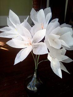 Small White Tissue Paper Flowers-- Wedding, Decor, Vintage. $12.50, via Etsy.
