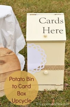 Potato Bin to Card Box  |  ItHappensinaBlink.com  |  Turn a potato bin into a card box for a wedding or event